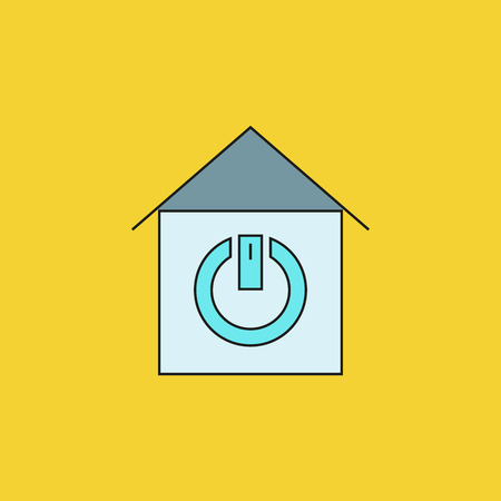 home and power button for smart home icon on yellow background