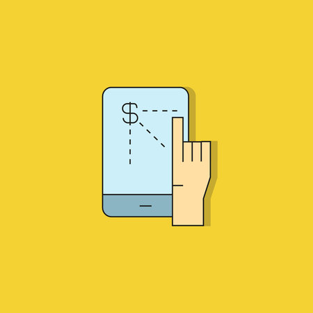 hand touching on mobile screen icon on yellow background