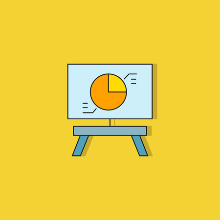 pie chart in whiteboard icon on yellow background