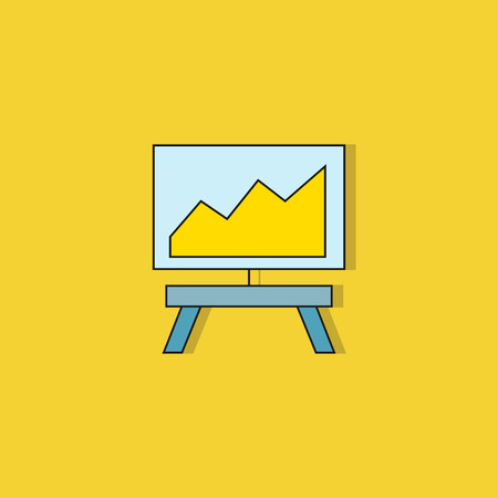 chart in whiteboard icon on yellow background Çizim