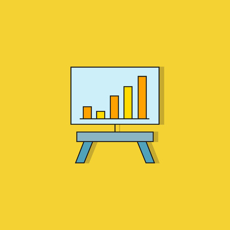 bar chart in whiteboard icon on yellow background