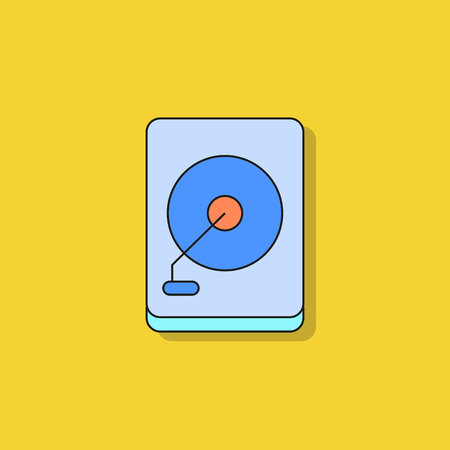hard disk icon on yellow background