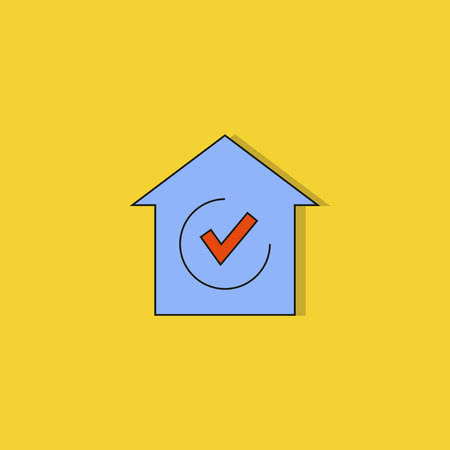 house and check mark icon on yellow background