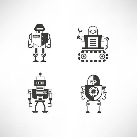 robot character icons Ilustración de vector