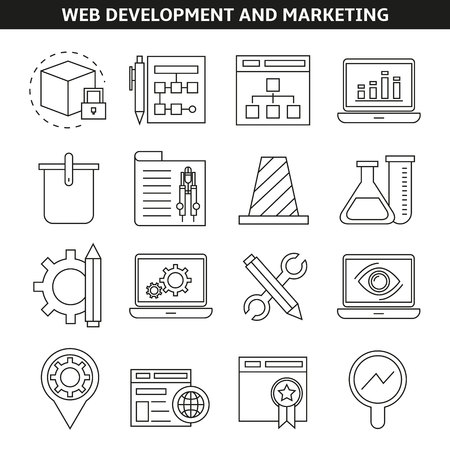 web development and marketing icons in line style Ilustração