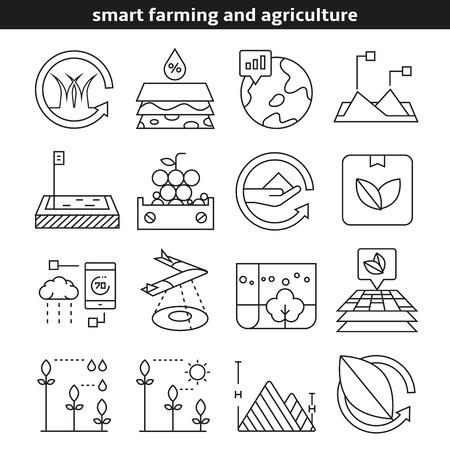 icônes d'agriculture et d'agriculture intelligentes dans le style de ligne Vecteurs