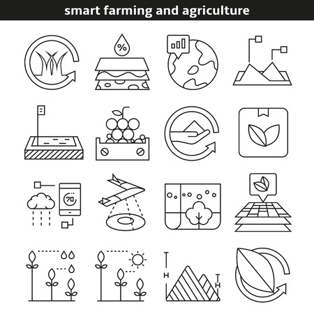 smart farming and agriculture icons in line style Ilustração Vetorial