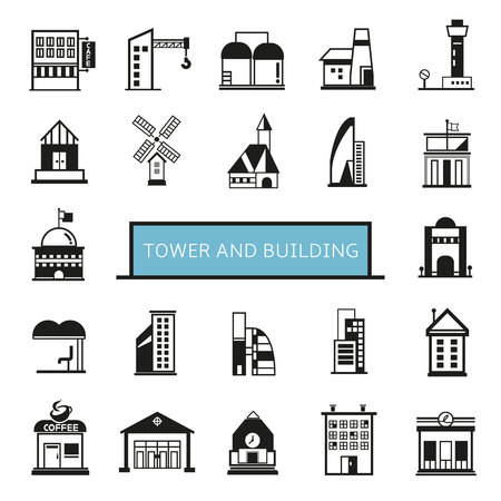 tower and building icons set