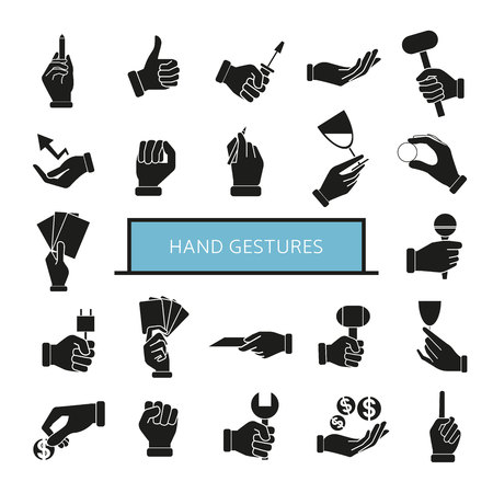 hand gesture icons set, hand holding objects 向量圖像