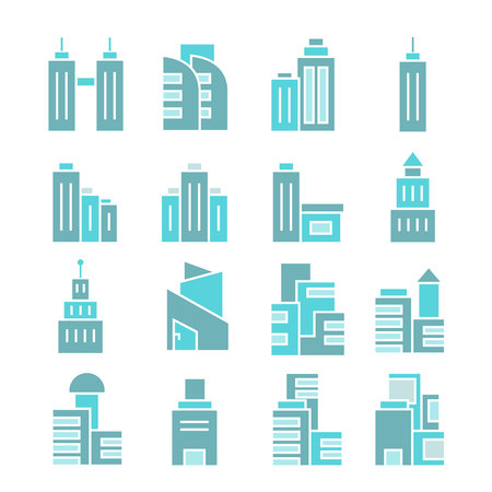 building and tower icons, blue color theme 일러스트