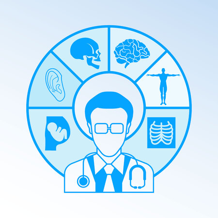 physician and medical icons Illustration