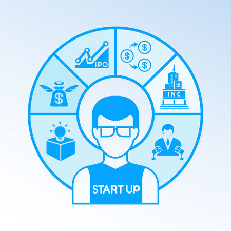 business man and startup business icons