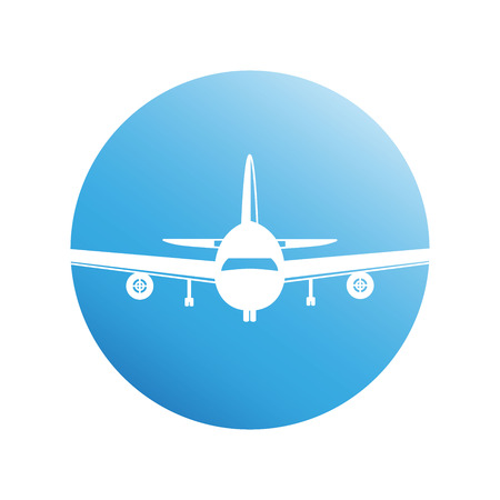 plane on blue circle background Illustration
