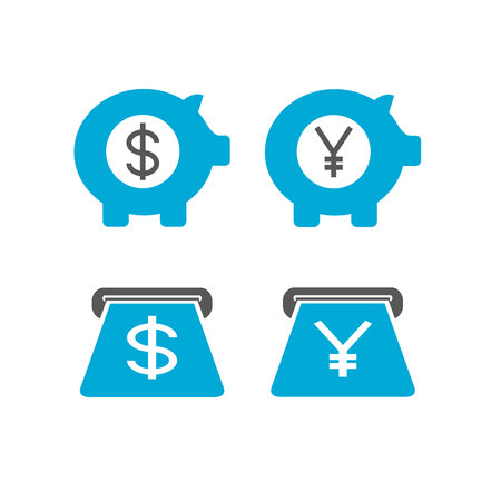 piggy bank and money currency icons