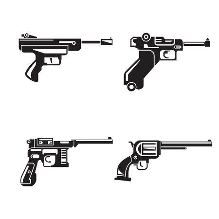 gun icons set