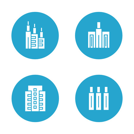 Building icons in blue buttons Banco de Imagens - 113145469