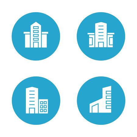 Building icons in blue buttons Banco de Imagens - 113145470