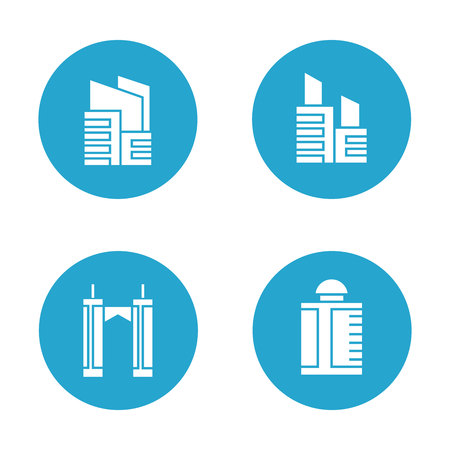 Building icons in blue buttons Banco de Imagens - 113145569
