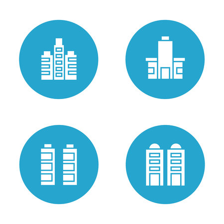 Building icons in blue buttons Banco de Imagens - 113145533