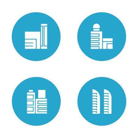 Building icons in blue buttons Banco de Imagens - 113145578