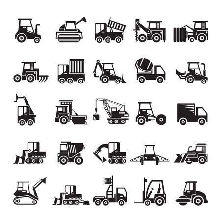 construction and mining equipment icons Stockfoto - 113172775