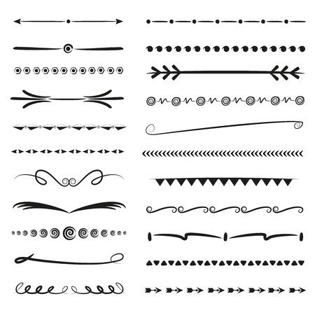 conjunto de línea divisoria dibujada a mano Ilustración de vector
