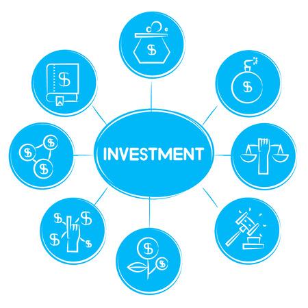 investment concept icons in blue diagram Vektorgrafik
