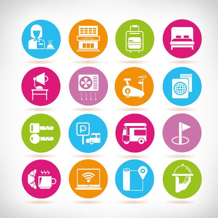 hotel service icons in colorful buttons Ilustracja