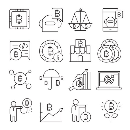 cryptocurrency, bitcoin and blockchain technology icons