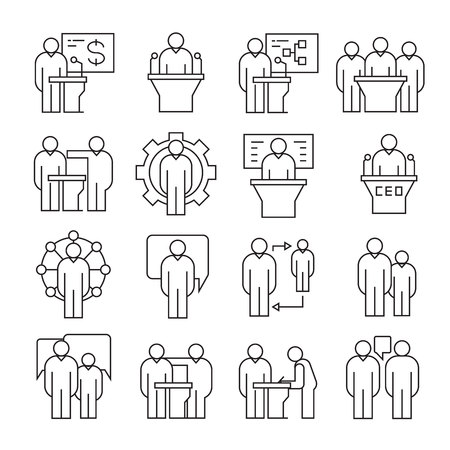 business conference and management icons, line theme