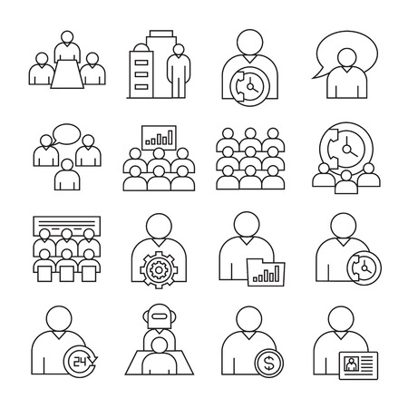 business and organization management icons, line theme Vector Illustration