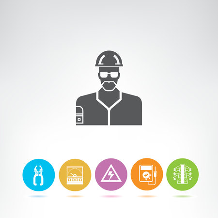 electrical engineering and tools icons Illustration