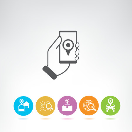 location tracking and shipping icons Illustration