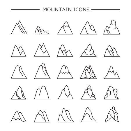 mountain icons set 向量圖像
