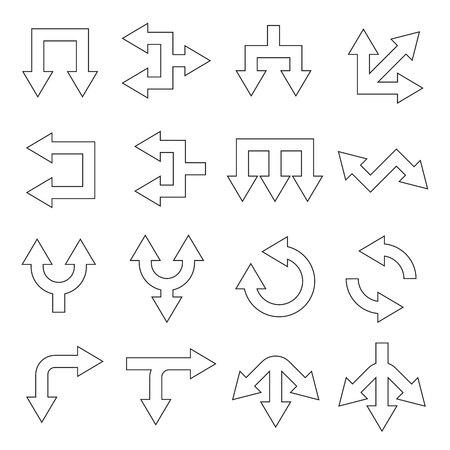 arrow icons set thin line design