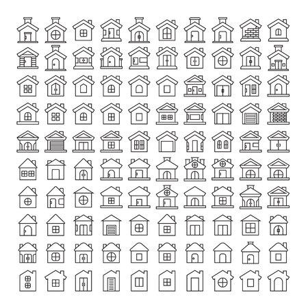 house icons vector illustration big set