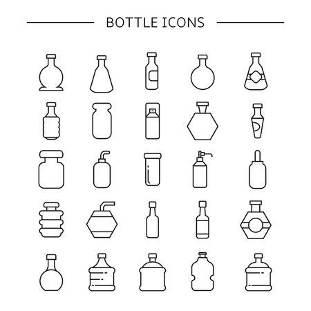bottle icons set, line icons Vector Illustration