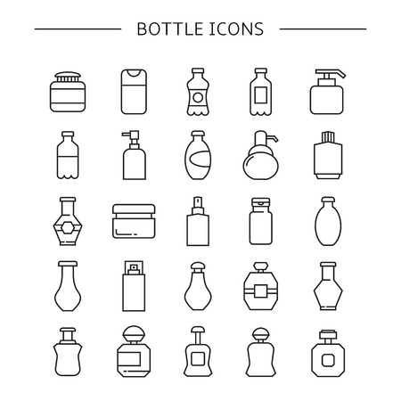 bottle icons set, line icons
