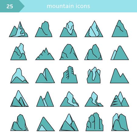 mountain icons set, blue color Stock Vector - 116839360