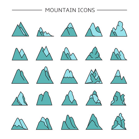 mountain icons set, blue color Stock Vector - 116839365