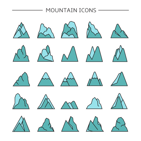 mountain icons set, blue color Stock Vector - 116839369