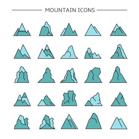 mountain icons set, blue color