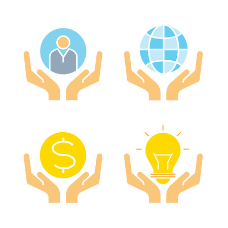 hand holding globe, money and bulb icons