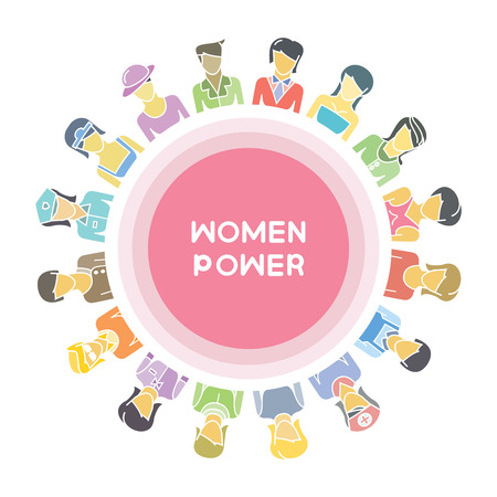 group of women for woman power, women community concept Ilustrace