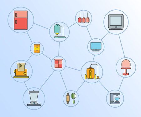 home appliance and furniture icons network diagram in blue background