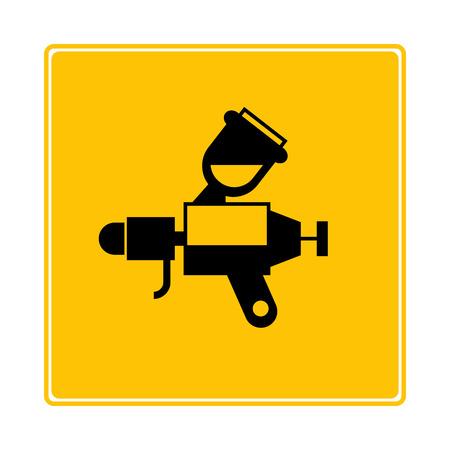 paint spray gun symbol in yellow background