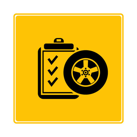 car tire check list symbol in yellow background