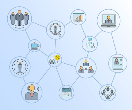 business management concept network diagram in blue background