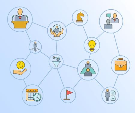 business management concept network diagram in blue background 일러스트