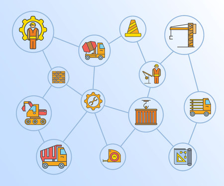 construction and tool icons network diagram in blue background Ilustrace